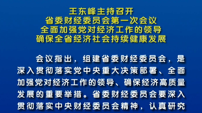 王东峰主持召开省委财经委员会第一次会议