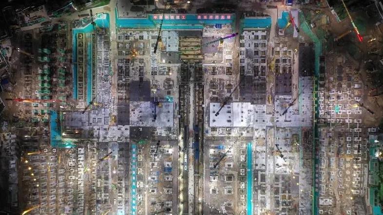 京雄城际雄安站站房钢结构工程地下主体完工