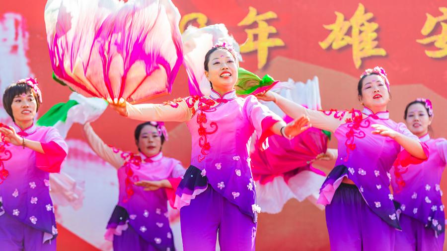 安新县老河头李家村姐妹同心舞蹈队参赛舞蹈《白洋淀等你来》