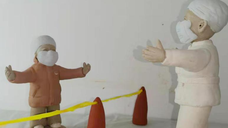组图丨河北广宗县泥塑作品为抗击疫情加油
