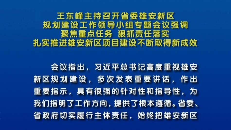 视频丨王东峰主持召开省委雄安新区规划建设工作领导小组专题会议