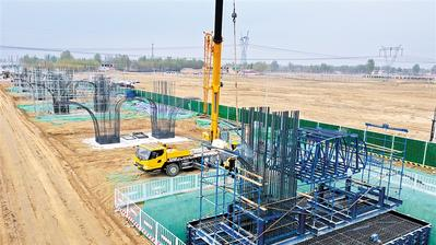 京雄高速兰沟洼特大桥建设工地施工