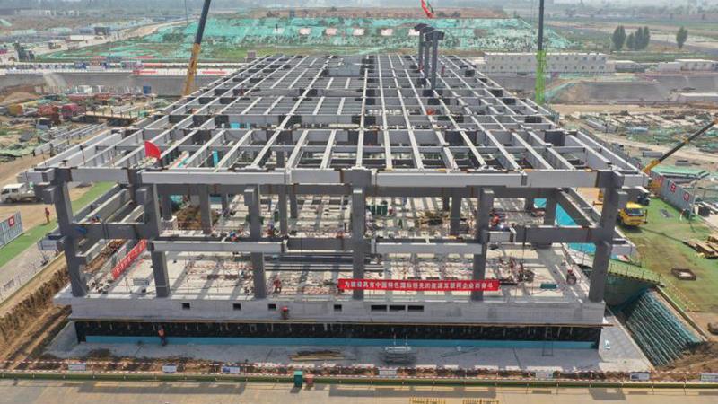 7月7日雄安剧村220千伏变电站钢结构主体全部完工