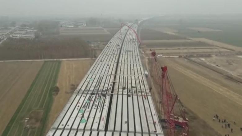 京雄高速SG5标段兰沟洼特大桥全桥贯通