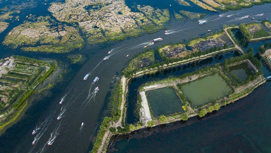 河北雄安 南水北调工程首次给白洋淀补水