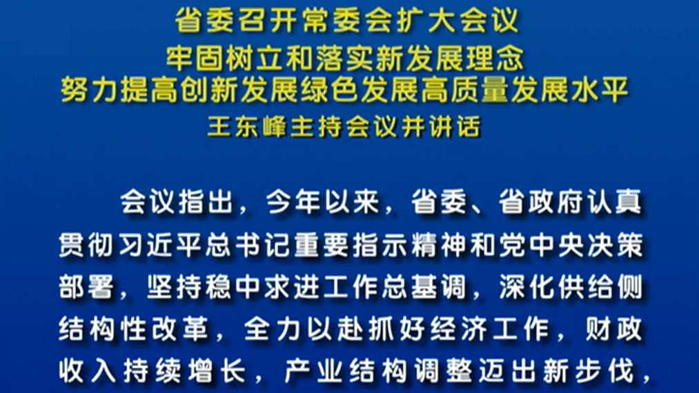 王东峰:努力提高创新发展绿色发展高质量发展水平